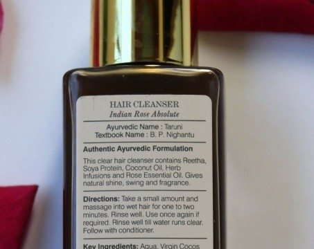 Forest Essentials Rose Absolute Shampoo Review bottle reverse