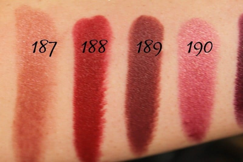 MAC Lipstick Swatches 50