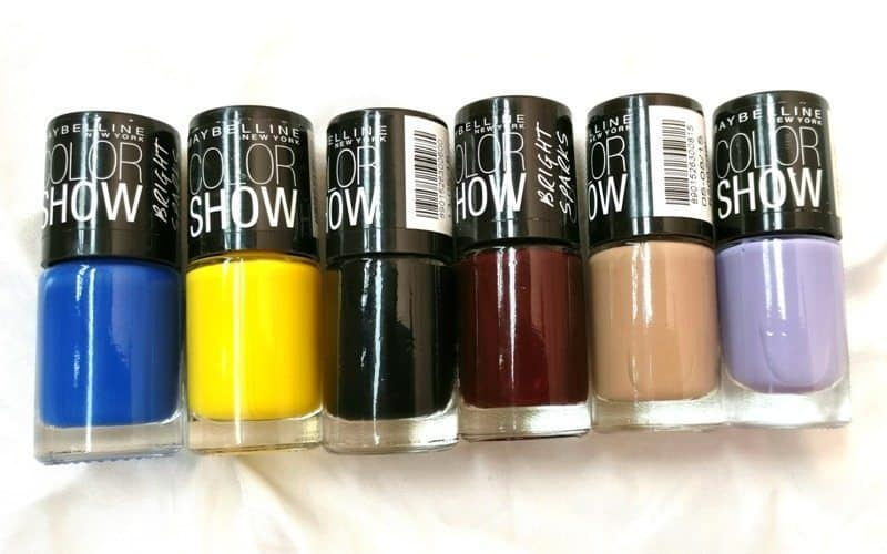 Maybelline Colorshow Nail Polish Blazing Blue, Sweet Sunshine, Blackout, Molten Maroon, Nude Skin, Blackcurrant Pop 6