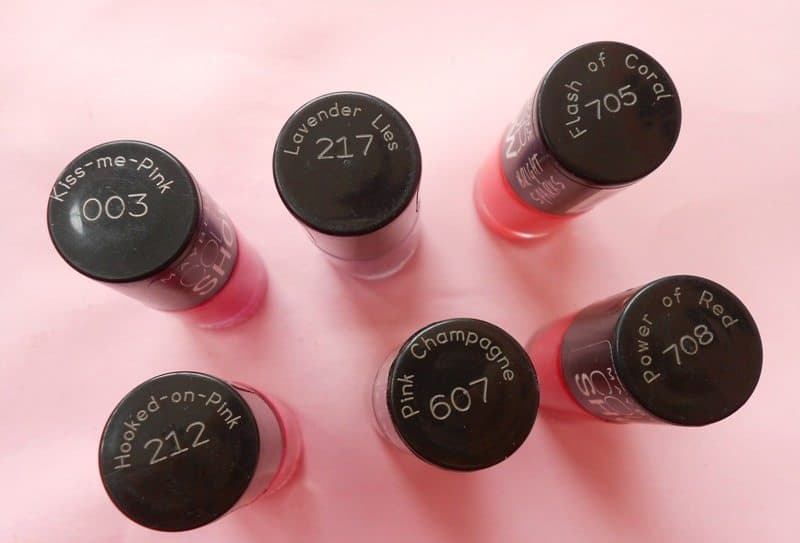 Maybelline Colorshow Nailpaint ,(003) Kiss Me Pink , (212) Hooked-On-Pink, (217) Lavender Lies, (607) Pink Champagne, (705) Flash Of Coral And (708) Power Of Red Review And Swatches 1