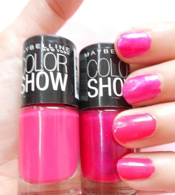 Maybelline Colorshow Nailpaint ,(003) Kiss Me Pink , (212) Hooked-On-Pink, (217) Lavender Lies, (607) Pink Champagne, (705) Flash Of Coral And (708) Power Of Red Review And Swatches 2