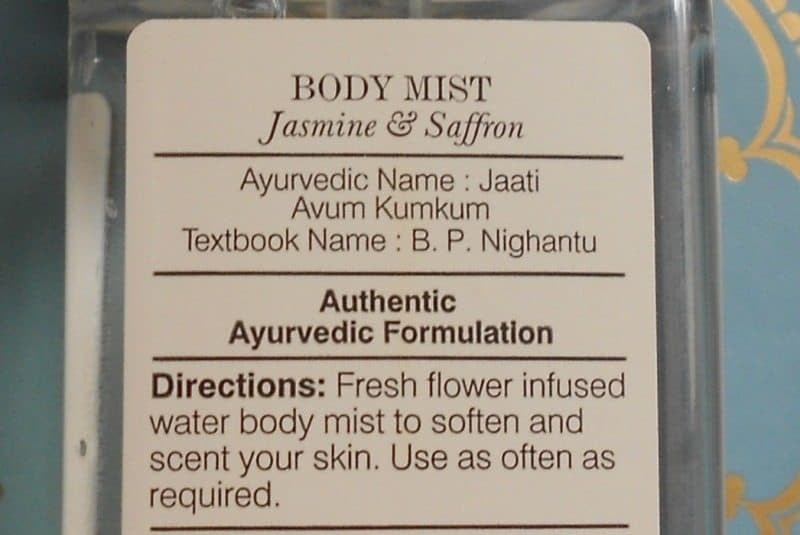 Forest Essential Body Mist Jasmine and Saffron Review 2