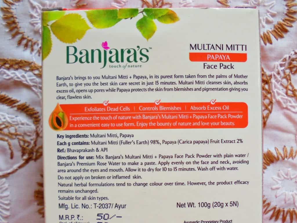 Banjara's Multani Mitti + Papaya Face Pack Review 1