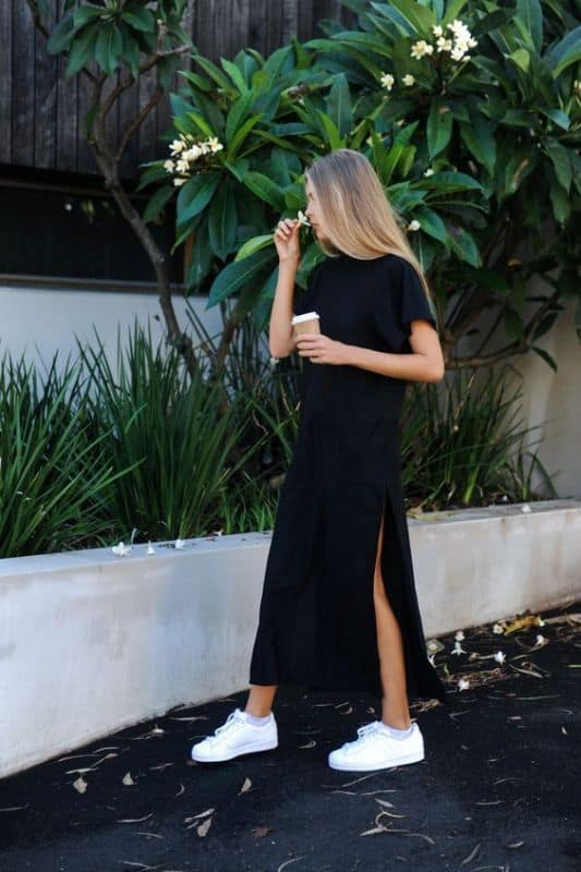 Shoes to wear with a black maxi dress