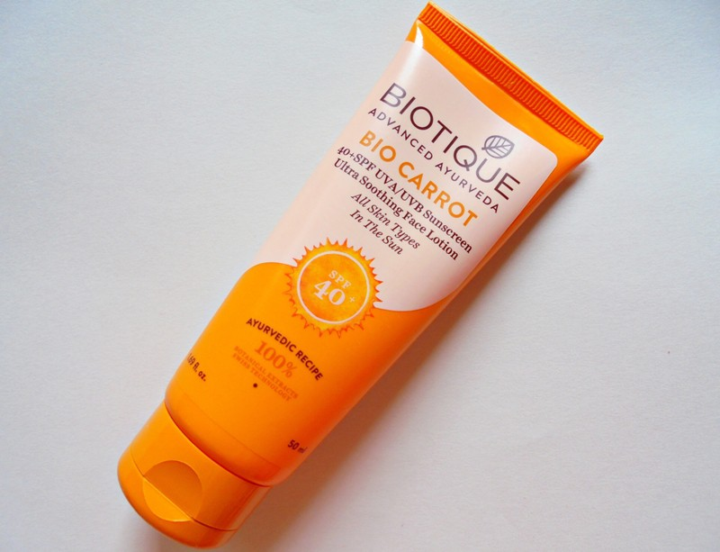 Biotique Bio Carrot 40+ SPF UVAUVB Sunscreen Ultra Soothing Face Lotion Review 4