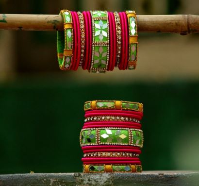 Mirror work thread bangles
