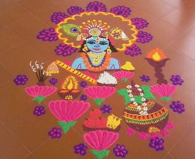 Face and figures of Hindu deities