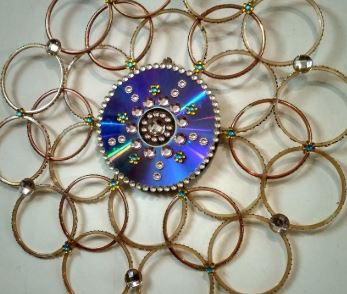 Wall hanging clock with bangles