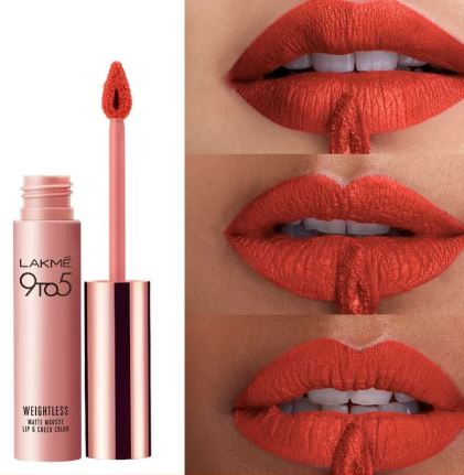 Lakme 9 to 5 Weightless Matte Mousse Lip & Cheek Color Tangerine Fluff