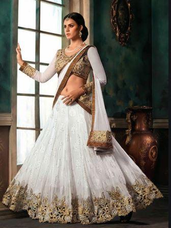 White lehenga saree