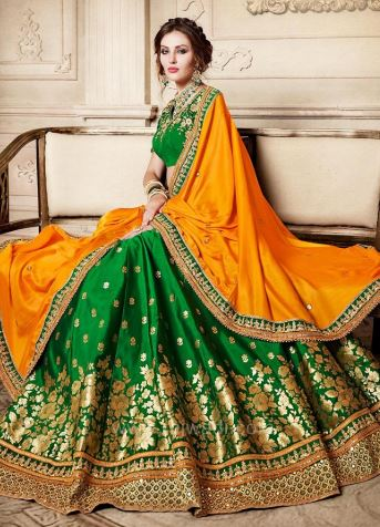 Embroidery lehenga saree