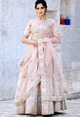 Pastel color lehenga saree