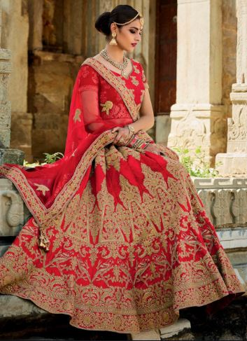 All red lehenga saree