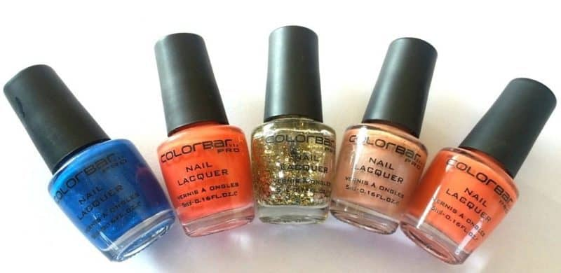 Colorbar Pro Nail Lacquer Blue Web, Orange Blast, Disco Gold, Flirt and Peach Me Up Review and Swatches