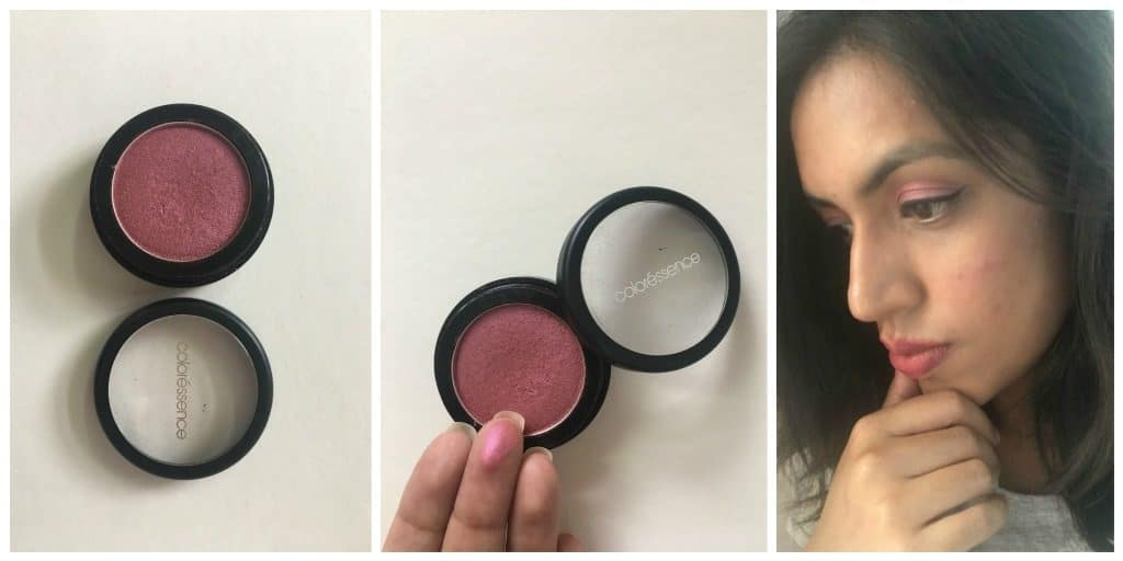 Who is it for? Coloressence Highlighter Blusher SH-4 is for the Indian skin tones. Women who like to have shimmer in their blusher may like it. It is good for bold/ glamorous/ party/ bridal makeup. Price: MRP INR 250/- Method of Application: Apply after base make-up, on the apple of the cheeks as a blusher, with the blusher brush. I would advise dusting off the product lightly from the brush before applying as this blusher is super pigmented and you may end up looking purple. It could be used as a highlighter, with the highlighter brush or finger tips, just above the blush or on the corner of the eyes. It can also be used as an eye shadow (refer picture). Sensitivity alert: No, but I have sensitive skin and it did not cause any irritation. My Experience with Coloressence Highlighter Blusher SH-4 : Packaging It comes in a round, black plastic body, with a twist to open, see through cap. Colour and Texture: It is quite smooth but not exactly satin like, as its name suggests. It has a powder finish and leaves behind a shimmery- purple blush. I am not exactly a fan of this shade. One might end up looking like a clown with purple cheeks. I don't think it is apt for natural look or day time. Because of the shimmer, it is a good choice for night time or for people who like bold or glamorous make-up. Pigmentation: It has good enough pigmentation. Just a little product on the brush is enough. Stay: It lasts as long as you don't rub it off or remove your makeup. Points in Favour: • Good pigmentation. • Lasts long. • Multiple uses, i.e., blusher/ highlighter/ eye shadow. • Good for bold/ party/ bridal make-up. What I did not like about it? • Does not give natural look. • Excess product may make your cheeks look purple. • Not for all skin tones. • Not the best option at this price. • Not travel friendly because there are palettes with multiple shades available in the market. Would I recommend or repurchase? I don't think so. This is not the product for people like me who prefer natural or the no make-up look. Plus, there are better products in the similar price range in the market.