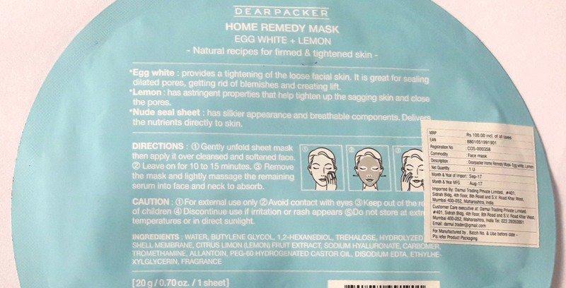 Dear Packer Egg White + Lemon Home Remedy Mask 1
