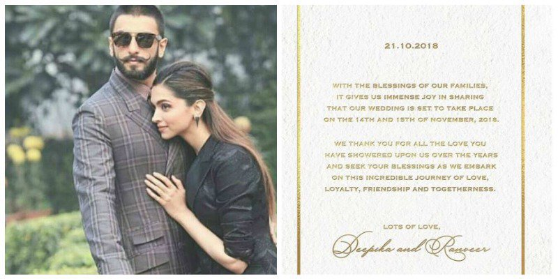 Deepika Ranveer Wedding Announcement!