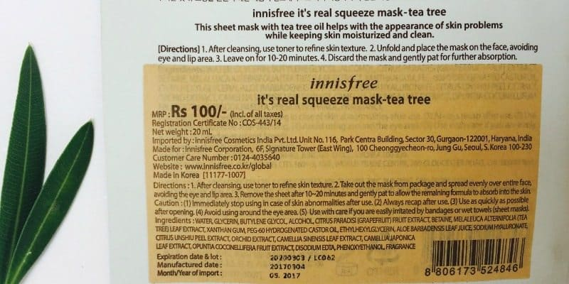 Innisfree its Real Squeeze Mask Tea Tree 1