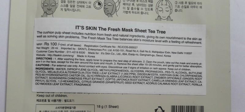 It's Skin Sheet Mask Tea Tree