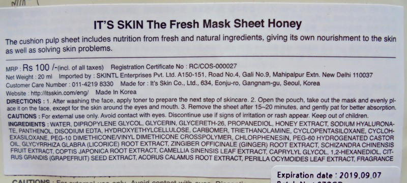 It's Skin The Fresh Mask Sheet Honey Firm & Glow Review 2