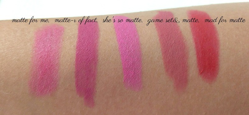 L'oreal Paris Color Riche Le Matte Lipstick  Matte For Me, Matte-R Of Fact, Game,Set & Matte, Shez So Matte, Mad For Matte  Review And Swatches 2