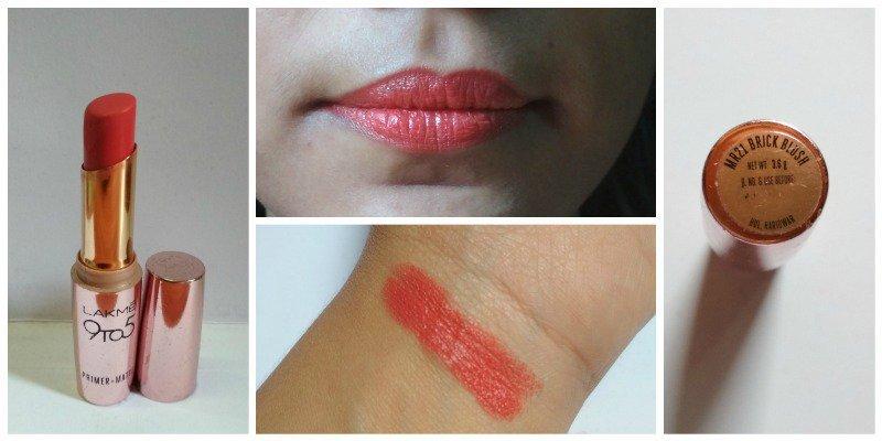 Lakme Brick Blush 9 To 5 Primer + Matte Lipstick