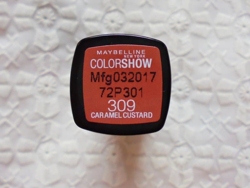 Maybelline Colorshow Lipstick 309 Caramel Custard Review 4