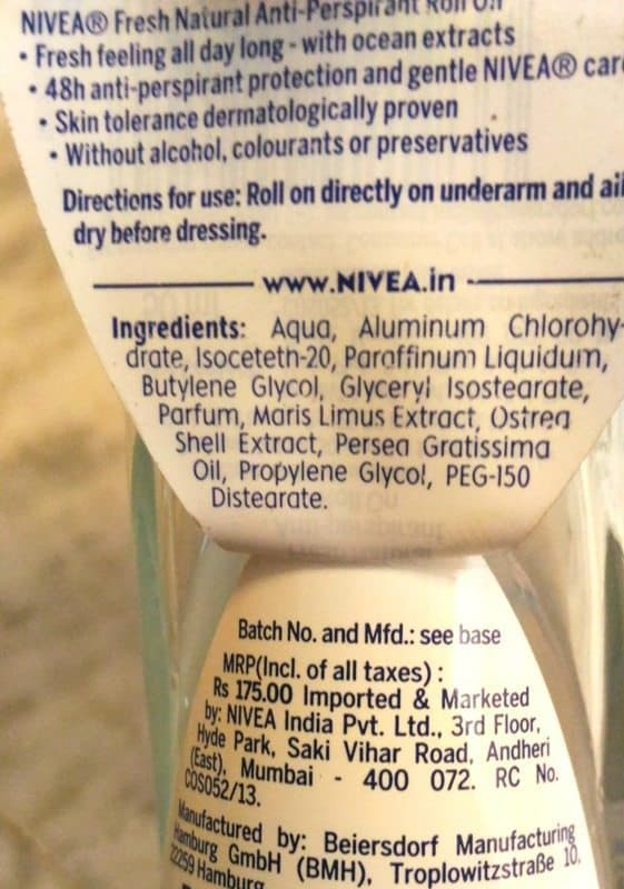 Nivea Fresh Natural Anti Perspirant Roll-On Deodorant Review 3