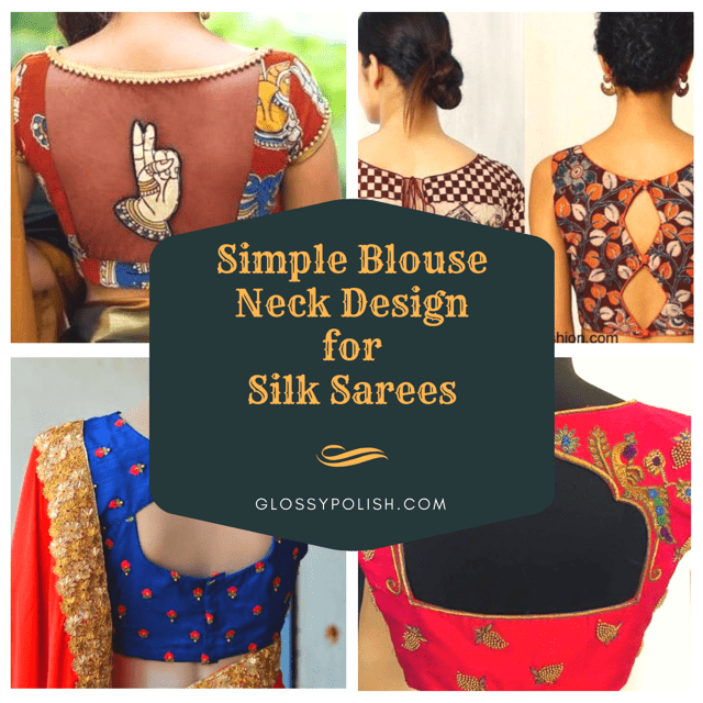 Simple Blouse Neck Designs for Silk Sarees 20