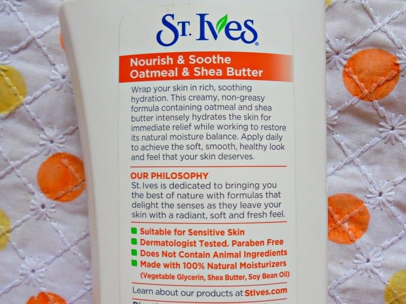 St. Ives Nourish & Sooth Oatmeal & Shea Butter Body Lotion Review 2
