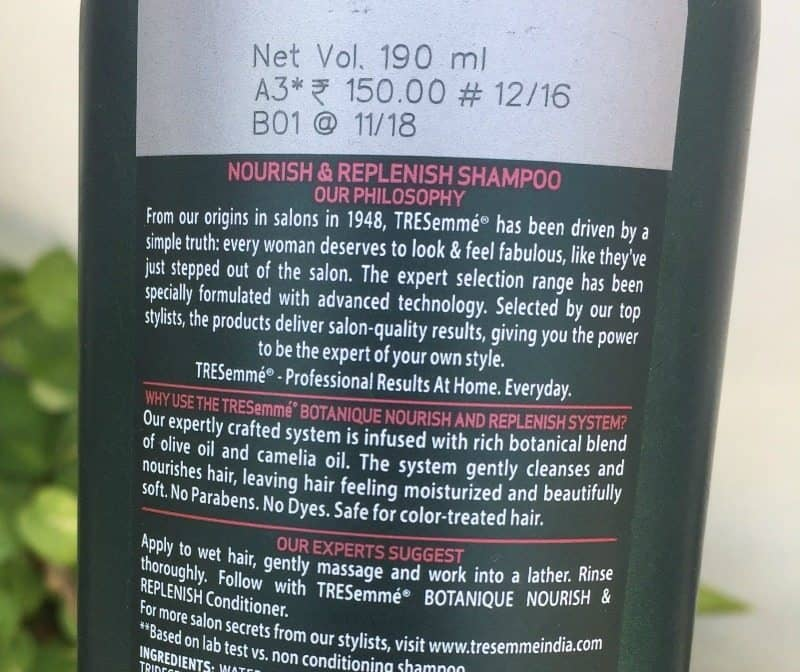 TRESemme Botanique Nourish and Replenish Shampoo and Conditioner Review 5