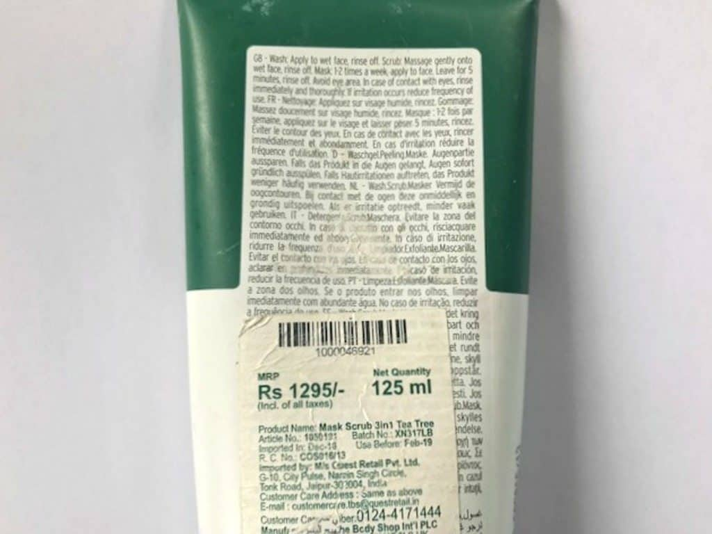 The Body Shop Tea Tree 3-In-1 Wash Scrub Mask Review 2