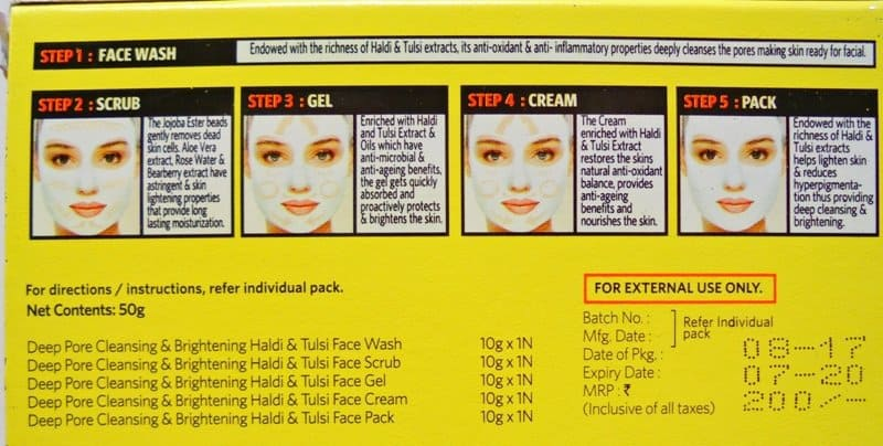 VLCC Ayurveda Deep Pore Cleansing & Brightening Haldi & Tulsi Facial Kit Review 2